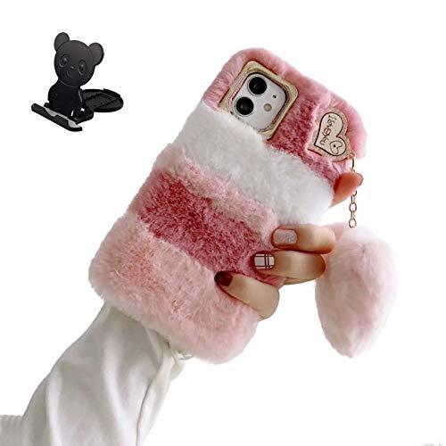 Ostop Plüsch Hülle für Samsung Galaxy A70 Flauschige Niedlich Handyhülle für Frauen Süße Flauschige Hase Pelz Winter Warm Weich Hülle TPU Stoßfest Schutzhülle [Liebesherz-Anhänger],Rosa Weiß