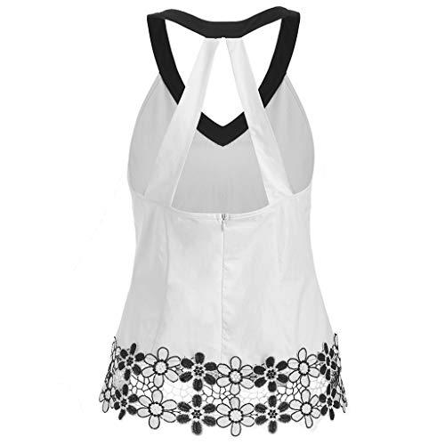 Janly - Camiseta sin mangas para mujer, estilo informal, sin mangas, cuello en V, sexy, con apliques, costuras casuales, para mujer, color blanco (M)