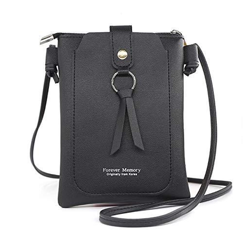 Heliansheng Cartera Larga para Mujer, Casual, con impresión de Letras, para teléfono móvil, Bolso sólido, Regalo, negro-D991
