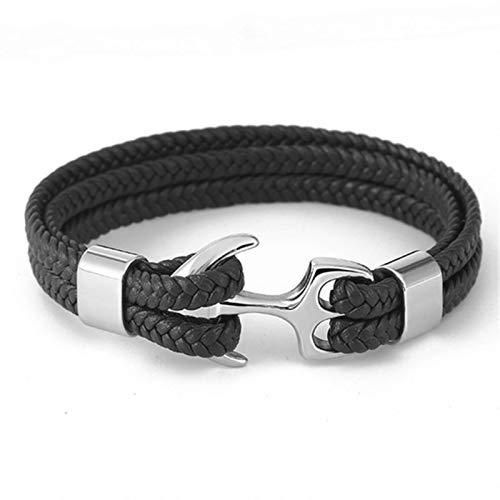 Pulseras para hombre, pulsera de cadena de cuerda de cuero, pulsera de cadena de cuerda de supervivencia náutica de acero inoxidable, estilo veraniego