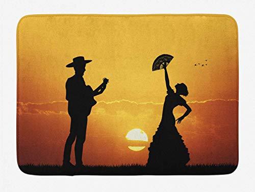 Alfombra de baño española, siluetas de bailarina y guitarrista de pareja de flamenco en el paisaje del atardecer, alfombra de felpa decorativa para baño con respaldo antideslizante, amarillo,
