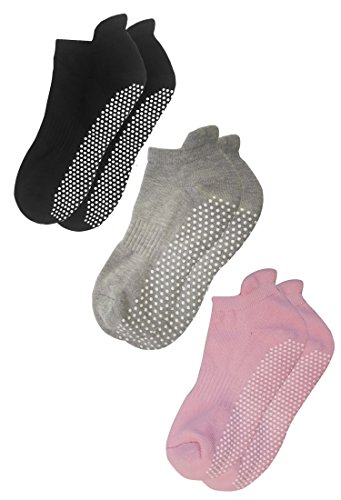 RATIVE Anti Slip Non Skid Barre Yoga Pilates Hospital Socks with grips for Adults Men Women (Medium, 3-pairs/black+grey+pink)