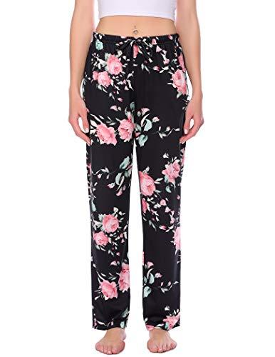Sheshow Women Pajama Bottom with Pockets Long-Pattern 1 Print Night Pant Drawstring Pj Pants (Long-Pattern 2,L)