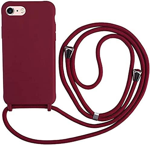 Hykjt Funda con Cuerda Compatible con iPhone 6/7/8(4.7'),Ajustable Collar Correa de Cuello Cordón Carcasa Caja Silicona Líquida TPU Bumper Caso-Rojo