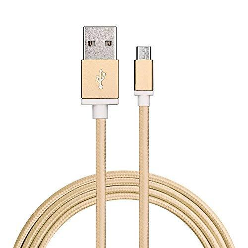 Sweet Tech Gold 1.5m Micro USB Nylon Umflochtenes Verwicklungssicheres Kabel Ladekabel Datenkabel Geeignet für Swistel Champ S5003D / eSmart H1 / eSmart E2