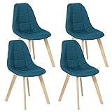 IDMarket - Lot de 4 chaises Gaby Bleues en Tissu pour Salle à Manger
