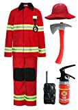 ReliBeauty Disfraz Bombero niño con Accesorios,7-8 años,Rojo