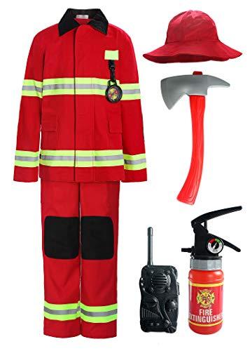 ReliBeauty Déguisement Pompier Enfant avec Accessoires de Pompier de Costume de Pompier pour Garçons et Filles,Rouge 130