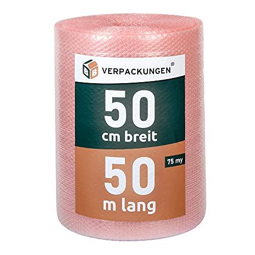 BB-Verpackungen 1 x Luftpolsterfolie 0,5 x 50 m antistatisch (75 my stark, Schutz von empfindlichen Gegenständen) - Sets zwischen 1 und 4 Rollen