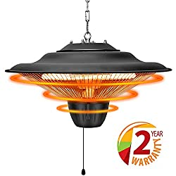 Patio Heater - Outdoor Heater, 1500W, Ceiling Mounted, Waterproof, Outdoor or Indoor Use, Ideal for Balcony, TRUSTECH Electric Heater