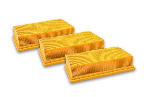 vhbw 3x Flachfaltenfilter Filter passend für Fein Dustex 25 L Staubsauger