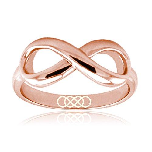Rose Gold Sterling Silber Doppel Unendlichkeit Symbol mit Gravur Unendlichkeit Ring - Größe 55...