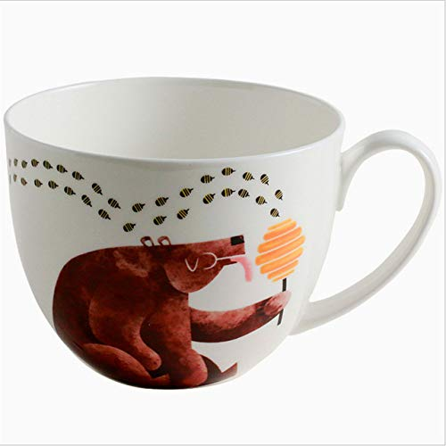 GFHTH Kaffeetassen 600 Ml Cartoon Niedlichen Bären Gedruckt Keramik Kaffeemilch Becher Großkaliber Kaffeemilch EIS Obst Haferflocken Saft Tasse GeschenkeHonig