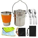 XHLLX Camping Cocinar Set Camping Aluminio Utensilios De Cocina Equipo De Cocina Kit Ligero Pote Taza Cuchara Tenedor Mochilero Plegable Cocina Portabl Portabl
