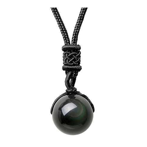 Jovivi 16mm Natural Black Obsidian Rainbow Eyes Stone Lucky Blessing Chakra Beads Pendant Necklace with Adjustable Braided Rope Cord