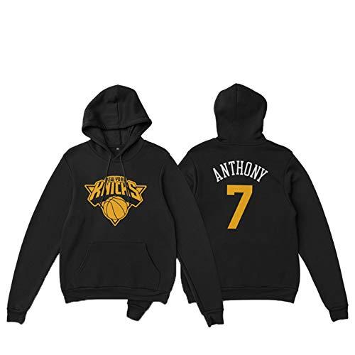 Sudadera con capucha para hombre Otoño/Invierno Knicks Nº 7 Anthony suelta, estilo retro, con capucha, para baloncesto (S-3XL)