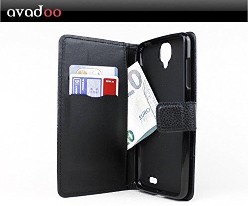 avadoo® Archos 55 Helium Flip Case Cover Tasche Schwarz mit Magnetverschluss und Dualnaht als Cover Tasche Hülle