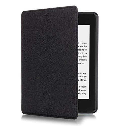 Eono by Amazon SlimShell Funda para Kindle Paperwhite 4 (10.ª generación, 2018) - Carcasa Fina y Ligera de Cuero Sintético con Auto-Sueño/Estela, Negro