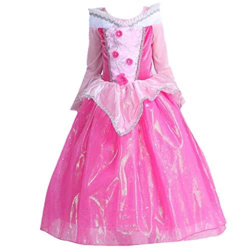 O.AMBW niña Princesa Vestido Bella Durmiente Princesa Aurora Disfraz Rosa Tulle Elegante Vestido de Manga Larga Fiesta de Halloween cumpleaños Cosplay Disfraz Guantes Corona Pendiente Peluca máscara