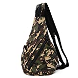 Canvas Sling Bag - Small Crossbody Backpack Shoulder Casual Daypack Rucksack for Men Women Outdoor Cycling Hiking Travel (6881-Camouflage Black)