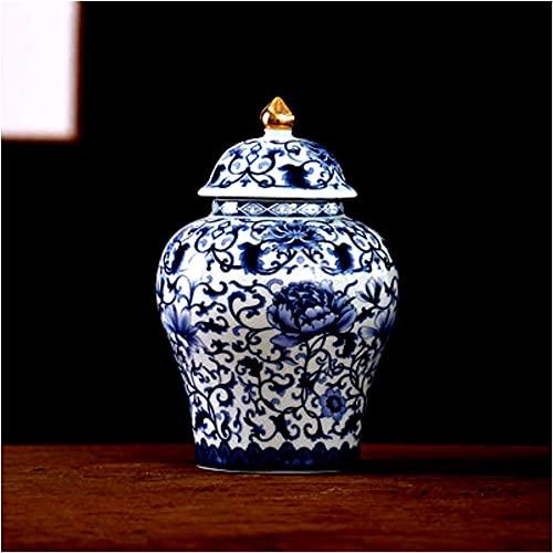 Bordsskiva tempel burk porslin tempel ingefära burk vas dekorativt tempel ingefära burk vas keramik tempel burk Kina Ming stil blommig tempel ingefära burk vas-K H 24 cm x b 16 cm