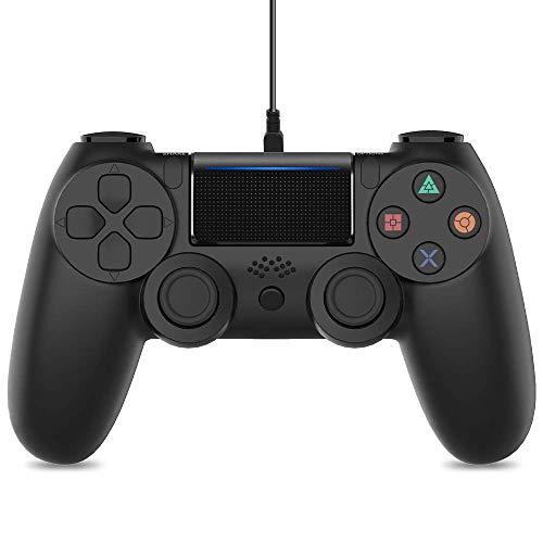 Mando para PS4, Control con Cable para PS4 - Gamepad Control para PS4/PC/Laptop con Motores de vibración, Indicador LED, Cable USB y Agarres Atideslizantes (Negro Mate)