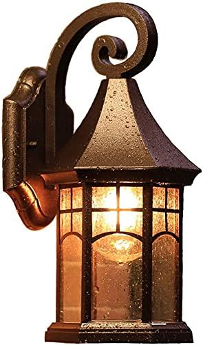 Lampada da parete per esterni Illuminazione per e Tradizionale all'aperto europeo retrò impermeabile parete muro marrone pressofuso in alluminio vetro lanterna rustico esterna parete applique da paret