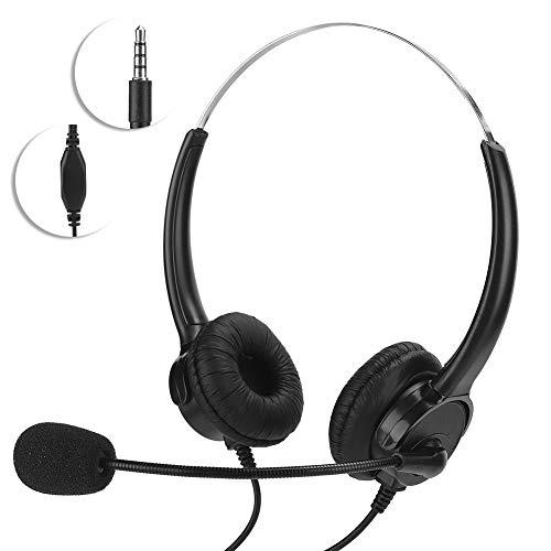 COHU Auriculares duales, Auriculares biauriculares con Cable de 3,5 mm montados en la Cabeza para Oficina para Tableta/PC para teléfono móvil/teléfonos móviles para el Aula