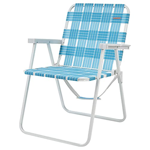 #WEJOY Folding Webbed Lawn Beach Chair,High Back Seat Backpack Portable Lightweight Chairs for Adult with Hard Arm,Carry Strap for Outdoor Camping Garden Concert Festival Sand Picnic BBQ,265 LBS