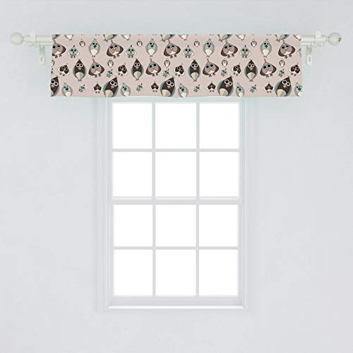 Lunarable Owl Window Valance, Funny Bird Characters with Bulging Eyes Pastel Colored Kids Wildlife Cartoon Pattern, Curtain Valance for Kitchen Bedroom Decor with Rod Pocket, 54' X 12', Multicolor