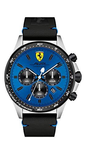 Ferrari Relógio masculino Pilota de quartzo de aço inoxidável com pulseira de couro de bezerro, preto, 22 (modelo: 0830388)