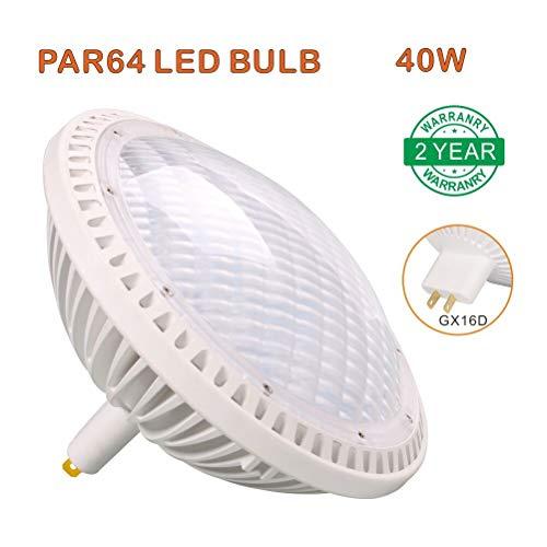 LED-Leuchtmittel, PAR64, warmweiß, 3000 K, GX16D-Sockel, 40 W, 240 V, nicht dimmbar, entspricht 500 W, 120 Grad breiter Flutlichtstrahlwinkel, für Innenbereich, Kirche, Bühnenbeleuchtung, 1 Stück