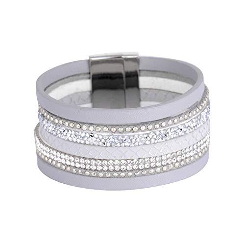 Many Colors Multi-Layer PU Leather Bracelet Rhinestone Beads Magnetic Clasp Women wrap Masculina bijoux Bracelet - ( Metal Color: Grey )