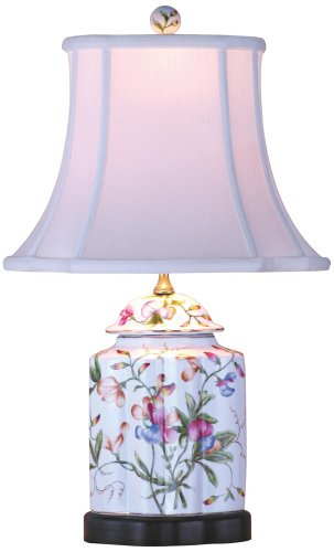 Floral Scalloped Porcelain Tea Jar Table Lamp