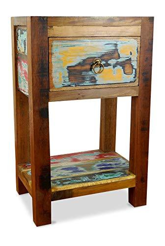 livasia Teakholz Nachtschrank aus Java | Recyceltes buntes Bootsholz | Asiatische Möbel | Designer Möbel aus Bootsholz | Massivholzkommode der Marke Asia Wohnstudio | Nachttisch