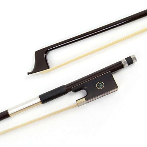 Kmise Violin Bow 4/4 Arcos de fibra de carbono marrón para Fiddle Round Stick con pelo de caballo mongol Ebony Frog Bobinado de alambre de plata para principiantes
