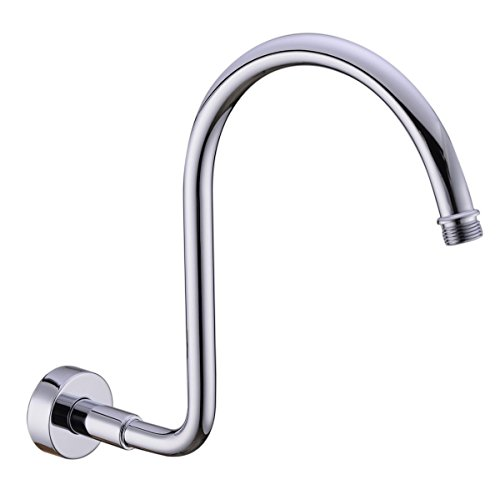 HANEBATH Brass GOOSENECK Extension Shower Arm with Flange, Polished Chrome, also Brushed Nickel or Bronze or Black for Choose