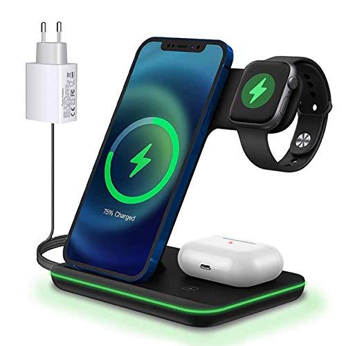 Cargador inalámbrico rápido de 15 W (adaptadores QC 3.0) Qi, estación de carga inductiva rápida 3 en 1 para Apple Watch 6/5/4/3, iPhone 12/12 Pro/11/X/SE/8 y Airpods 2/Pro.