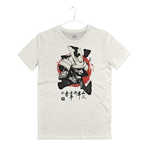 INSIDETSHIRT Maglietta Arti Marziali Maschera Samurai Bushido T-Shirt Man La Via del Guerriero Japan Hagakure (Warm White, L)