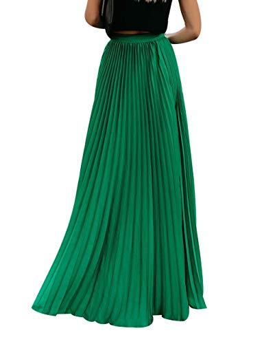 Frecoccialo Falda Plisada Mujer de Moda Larga Cintura Elástica Alta Eleganete Falda Maxi en Color Liso Falda Vintage (Verde,XXL)