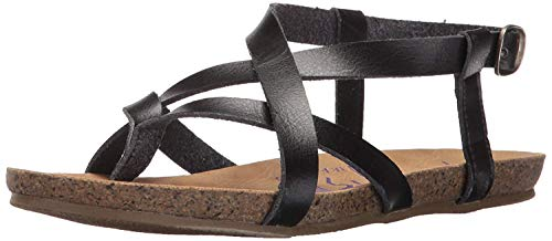Blowfish Malibu Women's Granola Flat Sandal, Black Dyecut PU, 6.5 Medium US