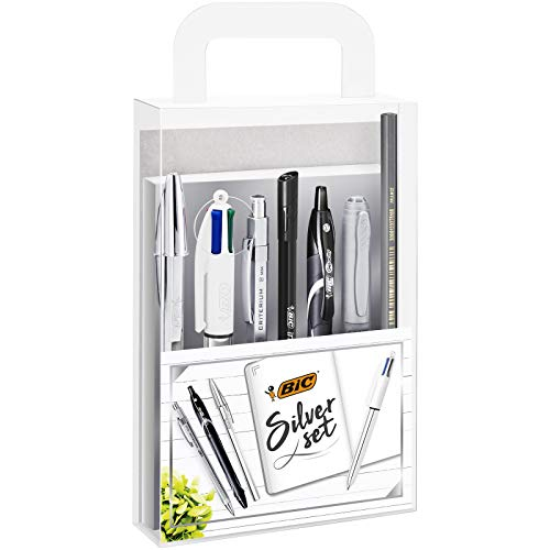 BIC Silver Line - Set 1 cuaderno/3 bolígrafos/1 bolígrafo de gel/1 roller/1 marcador permanente/1 portaminas