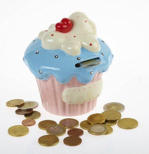 By-Bers Cupcake - die Spardose bunt - in 6 Farbkombinationen, Sparbüchse Sparschwein oder Sparkasse im besonderen Design, als Geschenk (rosa-hellblau)
