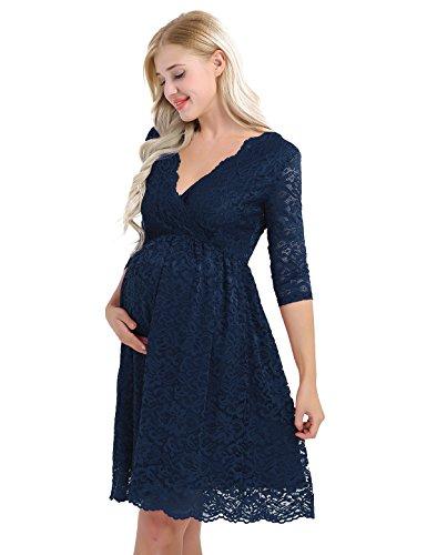 TiaoBug Damen Umstandskleid Spitzenkleid Frauen Schwangerschafts Kleid V-Ausschnitt Mutterschafts Kleid Fotografie Stillkleid mit Geknotetem Dekolleté dunkelblau 38