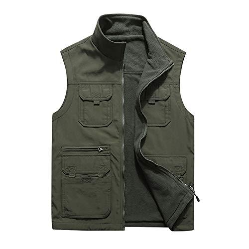 GAOHONGMEI Chaleco con múltiples bolsillos para hombre, chaleco de pesca al aire libre, chaleco de camping, ropa de abrigo sin mangas, viajes, fotografía, chaleco verde ejército-5XL