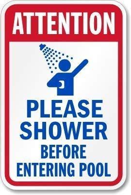 """Retro-Blechschild mit Aufschrift """"Attention Please Shower Before Entering Pool"""" von RTOUTS im antiken Stil, für Wohnzimmer, Bar, Kneipe, Zuhause, aus Aluminium, für Wanddekoration, 20,3 x 30,5 cm"""