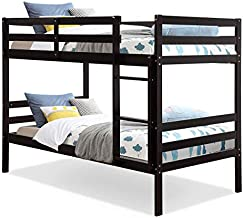 Costzon Twin Bunk Bed, Solid Hardwood Twin Over Twin Bed for Kids with Ladder and Safety Rail, Children Wooden Bunk Beds for Bedroom, Dorm, Flat w/ Slats, Bedroom Furniture (Espresso)