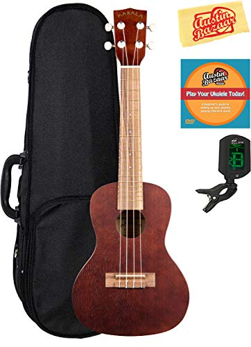 Kala MK-C Makala Concert Ukulele Bundle with Hard Case, Tuner, Austin Bazaar Instructional DVD, and Polishing Cloth
