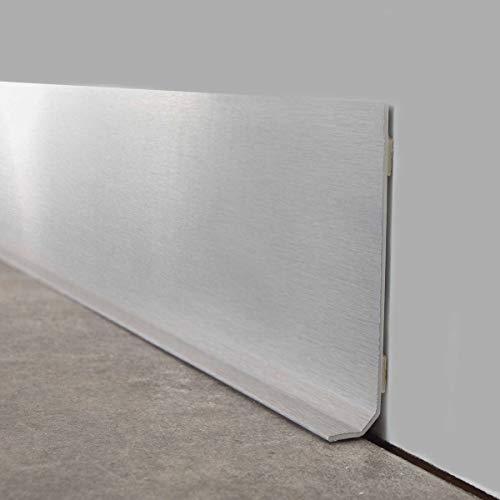 99DECO - Zócalo de PVC (10 unidades, aluminio cepillado)
