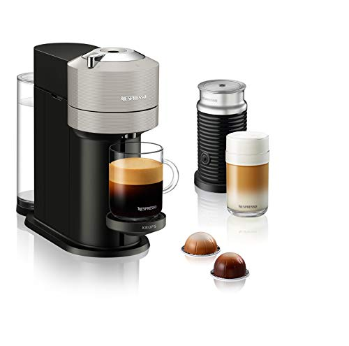 Krups XN911B Nespresso Vertuo Next Kaffeekapselmaschine + Aeroccino Milchaufschäumer | 1,7 L Wassertank | Kapselerkennung durch Barcode | 5 Tassengrößen | aus 54 {179783dee573c756c6f0d2767d786b4d1bc003097a197df3cc493290ff3bbf7b} recyceltem Kunststoff | Light Grey